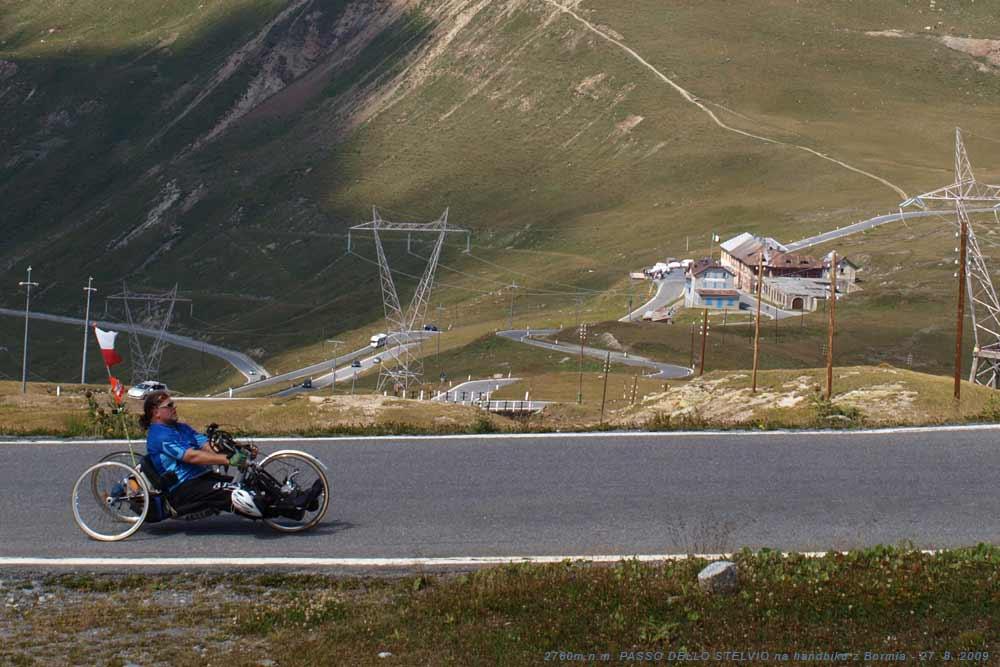 PASSO DELLO STELVIO 2760m.n.m. - zdolání druhého nejvyššího průsmyku v Evropě na handbiku 27. 8. 2009
